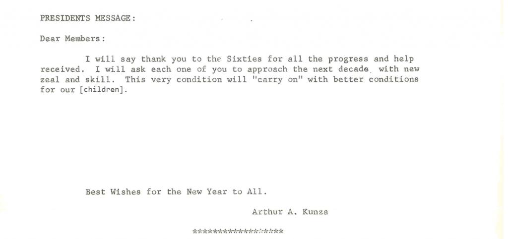 1970 newsletter snip